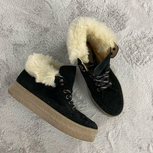Saks Fifth Avenue Black Suede Platform Fur Bootie